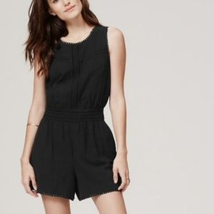 LOFT Romper Shorts Black with pom poms and lace